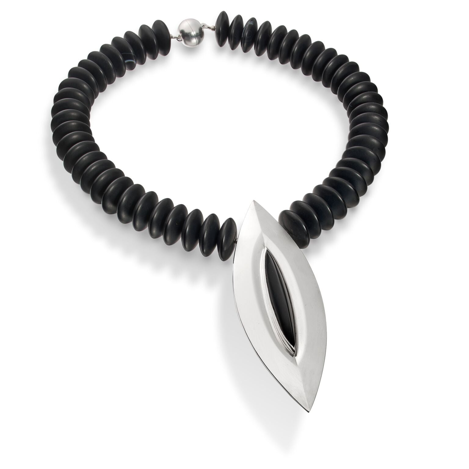 Chunky Navette Onyx and Silver Necklace