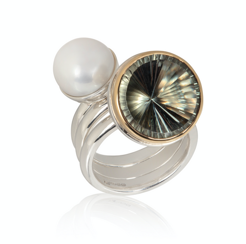 Stacking Rings. Prasiolite Ring, Pearl Ring and Plain Silver Band. Sun Cut Gemstone