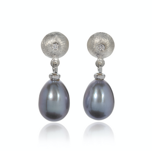 Grey Oval Fresh Water Pearl and Diamond Earrings