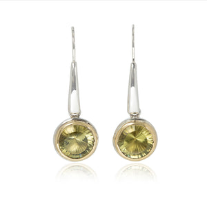 Stunning Concave cut Citrine Earrings in 22ct Gold & Sterling Silver