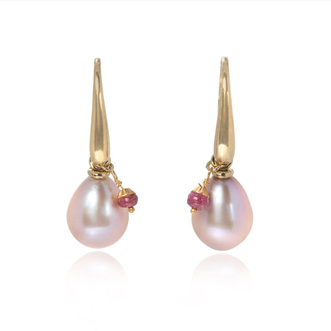 18ct Gold Earrings with Dusty Pink Pearl Drops & Faceted Ruby Beads