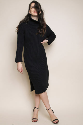 High Neck Knitted Midi Jumper Dress