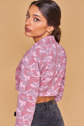 Rouge Pink Cropped Shirt Jacket