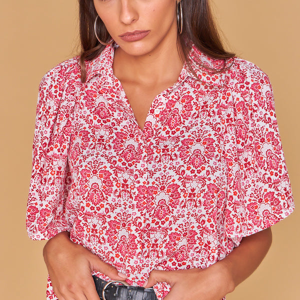 Pink Printed Puffed Sleeves Cropped Blouse