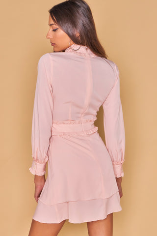 Peach High Neck Banded Collar Dress With Ruffle Statement