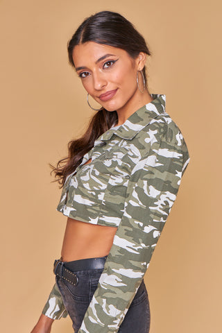 Camouflage Multi Cropped Shirt Jacket