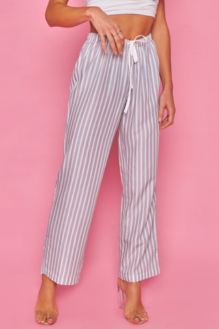 Grey and White Stripe Lounge Pants