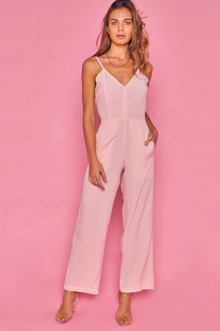 Peach Cami Style fitted Wide Leg jumpsuit