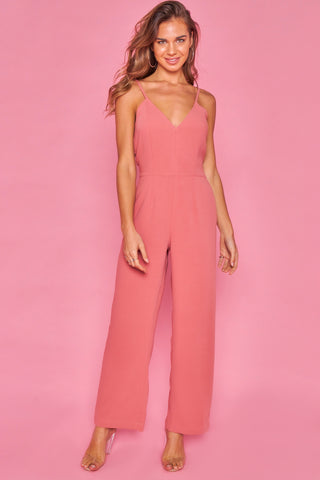 Strawberry Cami Style fitted Wide Leg jumpsuit