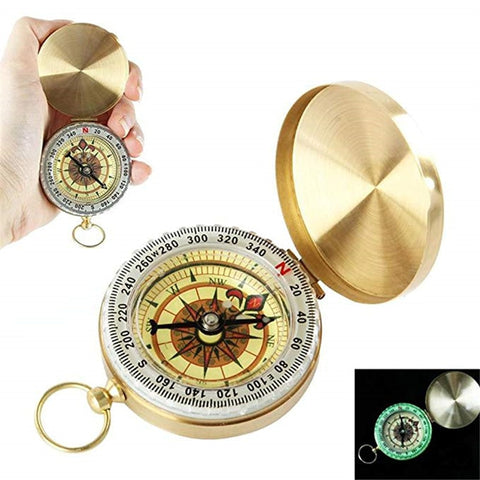 Mini Pocket Brass Golden Luminous Compass