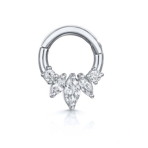 925 Sterling Silver Crystal Crown Clicker