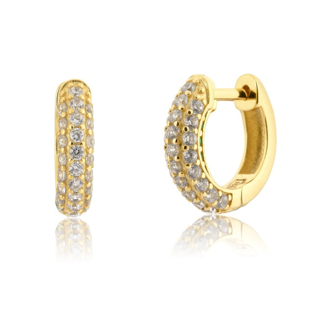 925 Sterling Silver Zircon Circle Hoops