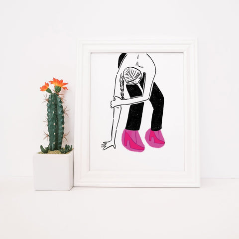 Woman w/Pink Shoes  - Print - 8x10""