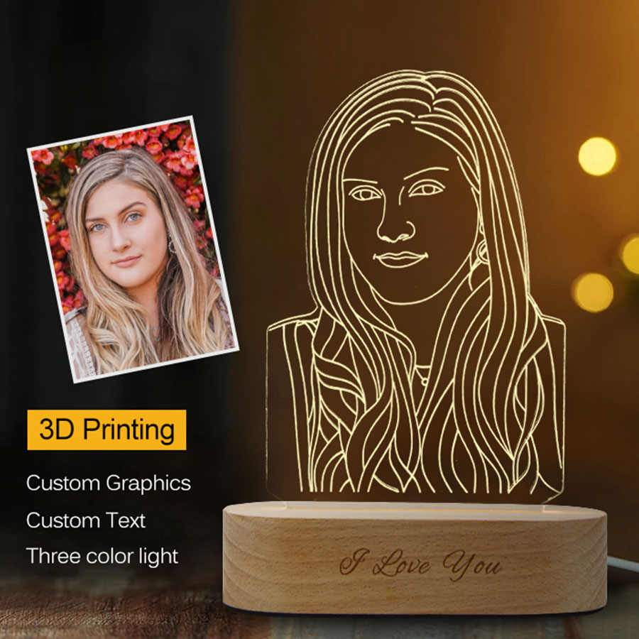 Wooden Engraved Customized 3D led