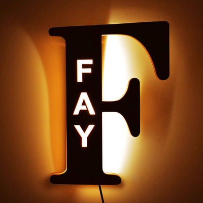 wooden letter light