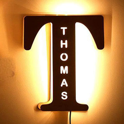 personalized wood light