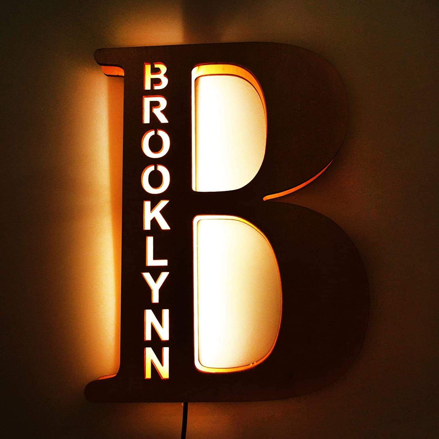 Custom Wooden Engraved Name Wall Light - Letter B