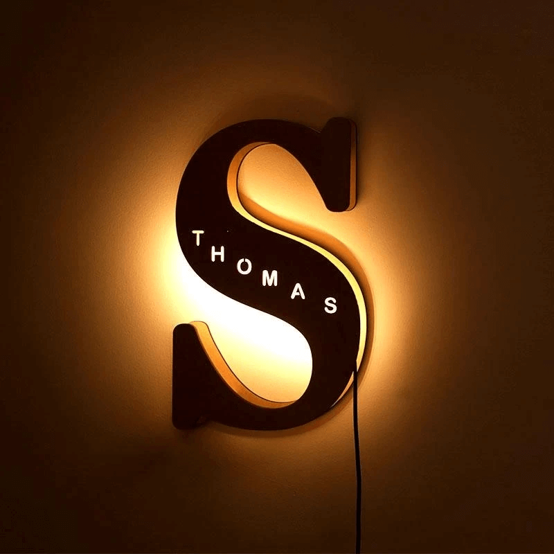 custom wooden engraved name wall light letter S