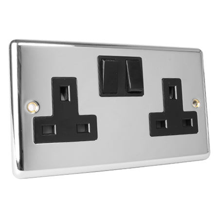 Magna Chrome 13A Switched 2 Gang Twin Double Socket - Black Insert