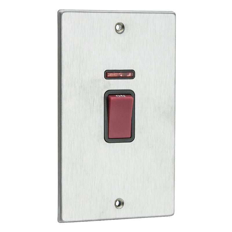 Hamilton Hartland Slimline 45A Double Pole Switch - Satin Stainless with Black Inserts