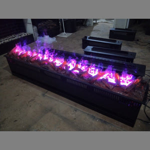 3D water vapor electric fireplace with fake wood or pebbles or panel