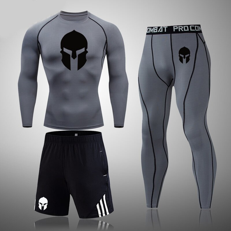 Men's fitness suit Spartan tight compression underwear and quick-drying pantyhose.(3 in 1)