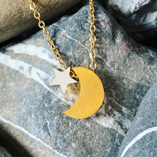 Stainless Steel Floating Moon and Star Necklace -  Wonderland -  marketsquare-collective.myshopify.com