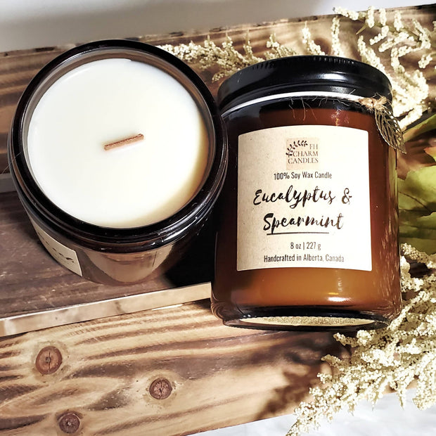 Eucalyptus & Spearmint Natural Soy Candle -  FH Charm Candles -  marketsquare-collective.myshopify.com