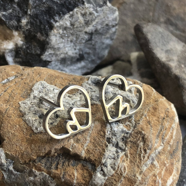 Stainless Steel Heart Mountain Studs -  Wonderland -  marketsquare-collective.myshopify.com