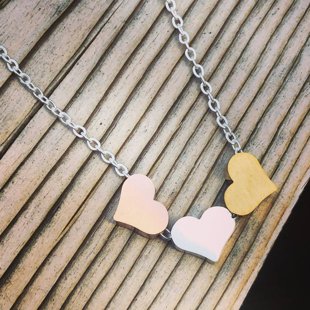 Stainless Steel Tri Colour Floating Heart Necklace -  Wonderland -  marketsquare-collective.myshopify.com