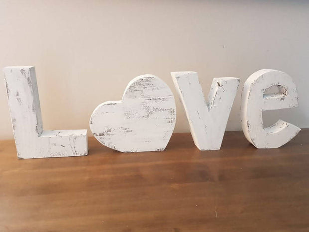 Rustic Wood Love Letters -  Barnwood Burlap & Bows -  marketsquare-collective.myshopify.com