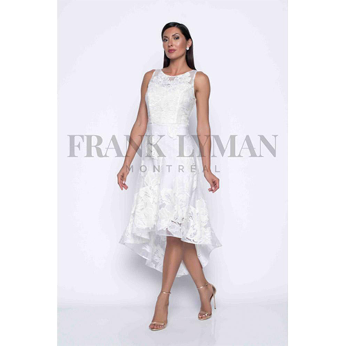 White sleeveless dress with lace overlay. High low style.Starting at knee back to mid calf. Tight bodice, moderate a-line from hip.