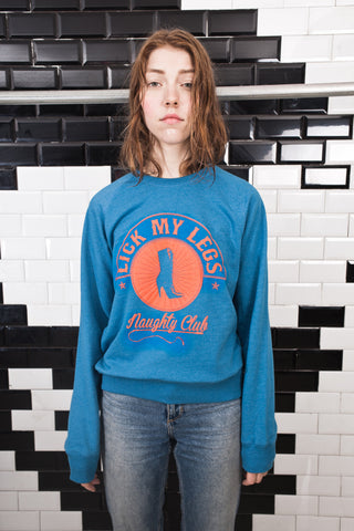 LICK MY LEGS  blue long sleeves sweatshirt