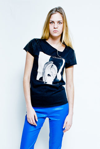 Black t-shirt printed by LICK MY LEGS - Made in France