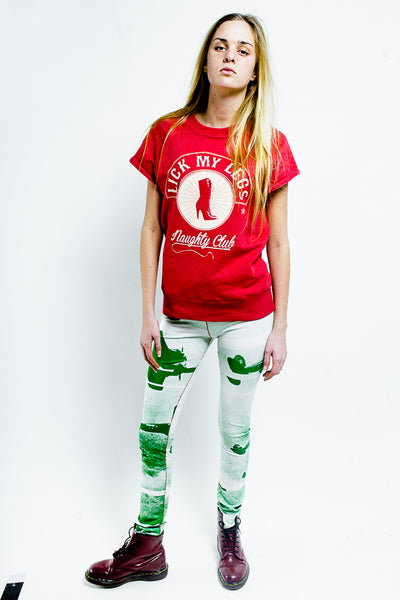 Red short sleeves sweatshirt, white Lick-my-legs logo on front