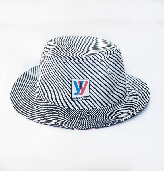 kinetic lines bucket Hat (blue/red)
