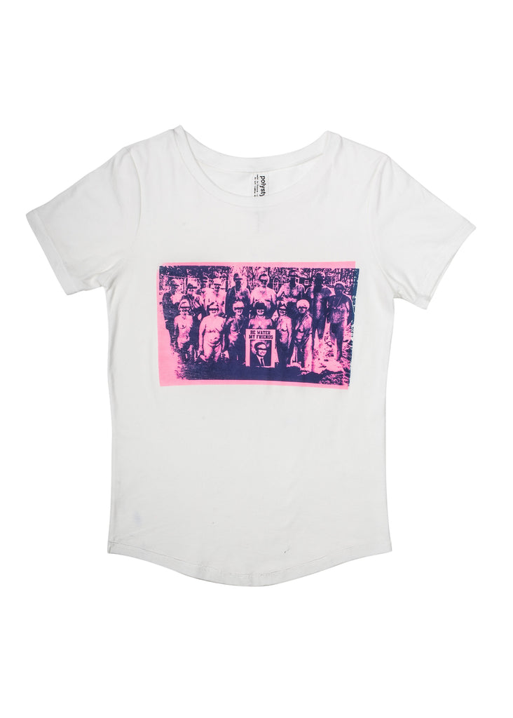 pink and blue print on white t-shirt by Polystyren aw18