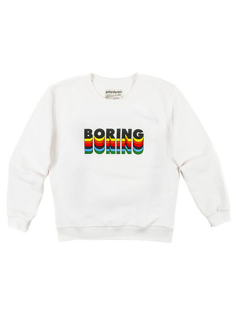 Boring, rainbow graphic print on white sweatshirt. Polystyren ss19, Paris.