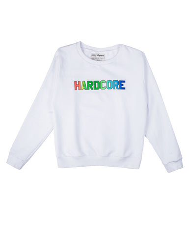 HARDCORE logo print on white sweatshirt. Polystyren aw18