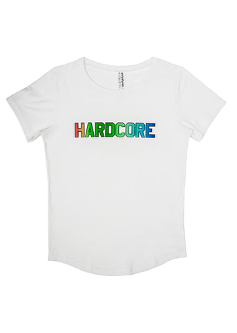 Hardcore raimbow screen print on white t-shirt. Polystyren AW18