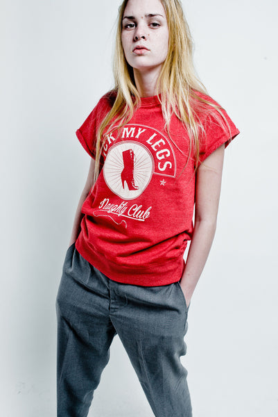 LICK MY LEGS Red short sleeves sweatshirt, white  logo on front