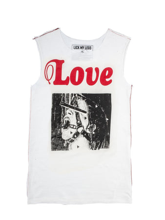 Hot dog sleeveless t-shirt. Lick my legs paris ss19