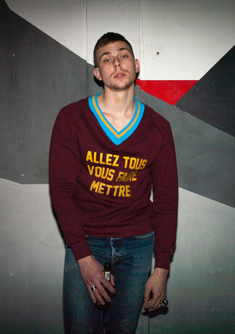 Polystyren  V neck sweatshirt. Photo: Matthieu Lapierre - model: Theophyle Bourseiller