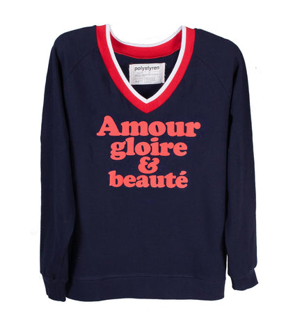 amour, gloire et beauté, blue V neck sweatshirt. Available in black, blue, green.