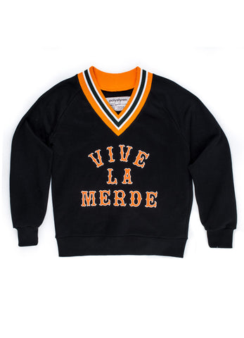 VIVE LA MERDE v neck sweatshirt - WOMEN