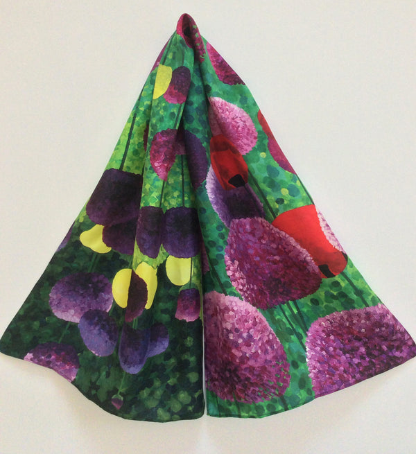 Alliums & Poppies silk scarf