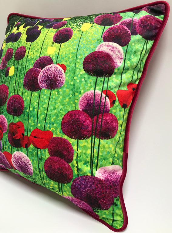 Alliums and Poppies Cushion