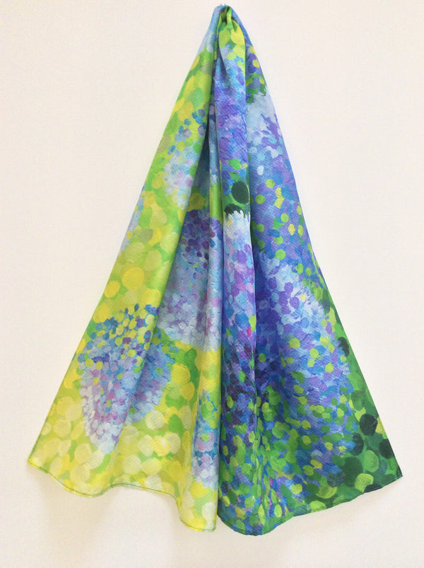 Azure Alliums silk scarf