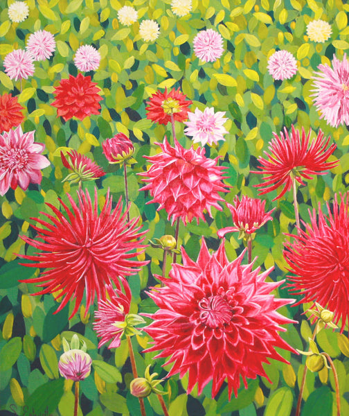 Field of dahlias limited edition paper print