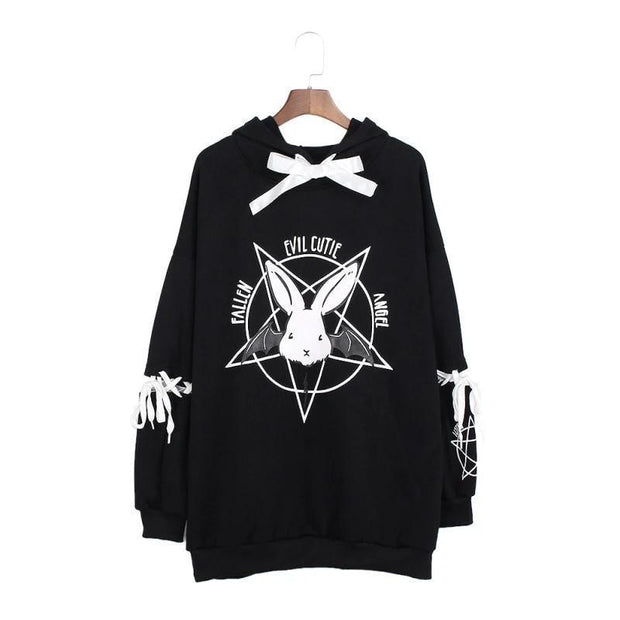 Women's Pentagram Print Lace Up Hoodies - ByDivStore